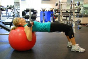 Ball Dumbbell Chest Press Start